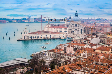 Venetian Lagoon With Ships. NIce Aerial View Stock Photo