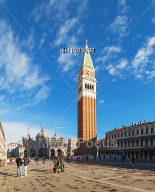 """Venice - DECEMBER 11: Piazza San Marco On December 11, 2012 In Venice. It's The Principal Public Square Of Venice, Italy, Where It Is Generally Known Just As """"the Piazza"""". Stock Photo"""