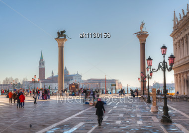 """VENICE - DECEMBER 11: Piazza San Marco With Tourists On December 11, 2012 In Venice. It's The Principal Public Square Of Venice, Italy, Where It Is Generally Known Just As """"the Piazza"""". Stock Photo"""