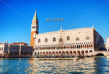 """VENICE - DECEMBER 12: San Marko Square As Seen From The Lagoon On December 11, 2012 In Venice, Italy. It's The Principal Public Square Of Venice, Italy, Where It Is Generally Known Just As """"the Piazza Stock Photo"""