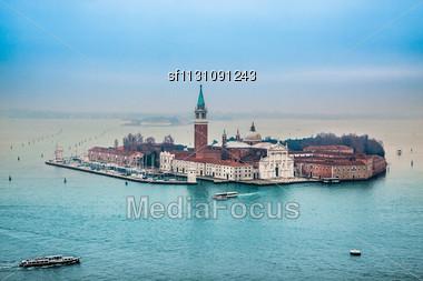 Venice From The Air - San Giorgio Maggiore. -Venetian Lagoon With Ships And San Giorgio Maggiore Aerial View Stock Photo
