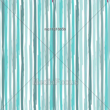 Vertical Seamless Striped Pattern. Hand Painted Background With Ink Brush Stroke. Blue Color Stripes On White Background. Can Be Used For Prints, Wallpaper, Baby Shower Invitation, Birthday Card, Scra Stock Photo