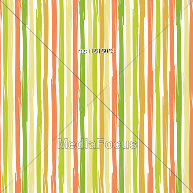 Vertical Seamless Striped Pattern. Hand Painted Background With Ink Brush Stroke. Earth And Nature Color Stripes On White Background. Can Be Used For Prints, Wallpaper, Baby Shower Invitation, Birthda Stock Photo
