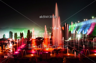 Very Beautiful Fountains In Brindavan Garden, Mysore Stock Photo
