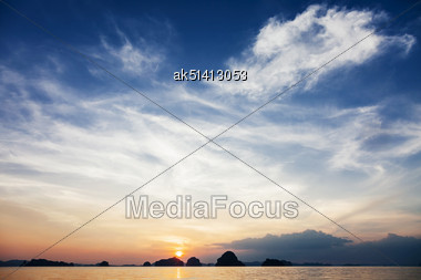 Very Beautiful Sea Sunset With Islands On Background Stock Photo