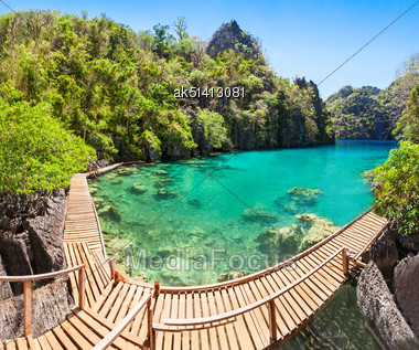 Very Beautyful Lake In The Islands, Philippines Stock Photo