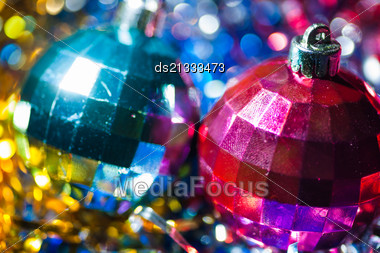 Very Closeup Shot Of The Two Xmas Balls, Violet And Blue Color Stock Photo