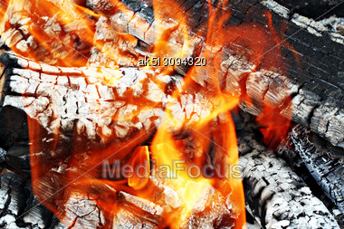 Very Hot Camp Fire As A Background Stock Photo