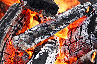 Very Hot Campfire Close Up, High Resolution Stock Photo