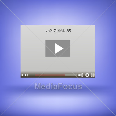 Video Player Icon Isolated On Soft Blue Background Stock Photo