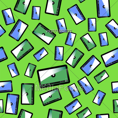 Video Player Seamless Pattern Isolated On Green Background Stock Photo
