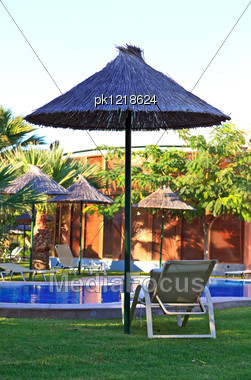 View Of Beautiful Luxury Hotel Pool. Rhodes Island. Greece. Stock Photo