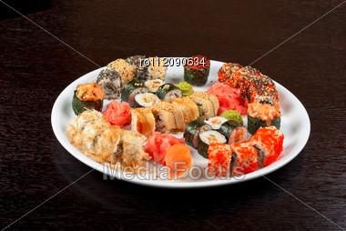 View Of Closeup Japanese Sushi Set At Plate Stock Photo
