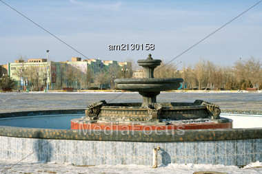 View Of The Fountain In The Winter In The City Of Zhanaozen. Stock Photo