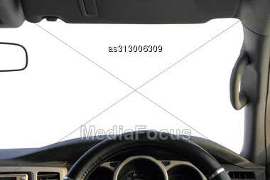 View From The Car, A White Background For Your Text. Stock Photo