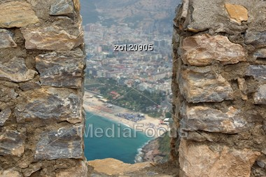 View From The Castle Of Alanya Harbor,Turkey Stock Photo