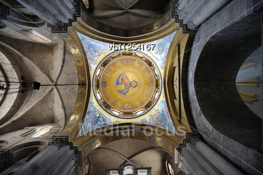 View From Inside One Of The Domes Of The Church Of The Holy Sepulchre Stock Photo