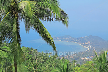 View From Mountain To The Beauty Bay Stock Photo