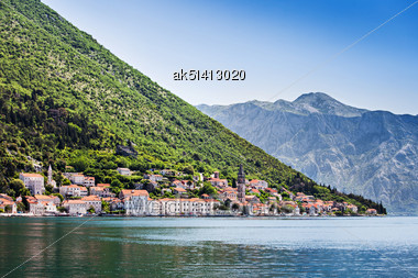 View To Perast Town From The Sea, Montenegro Stock Photo