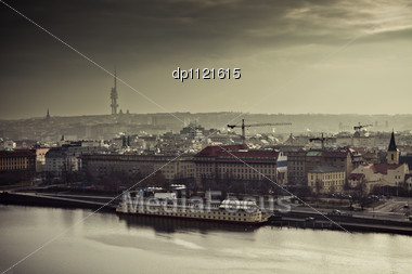 View On The Prague At Sunset, Czech Republic, Europe. Stock Photo