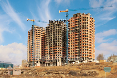 View Of The Unfinished New Home In The City Of Aktau. Stock Photo