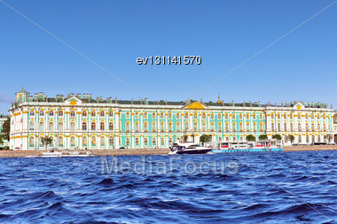 View Winter Palace In Saint Petersburg From Neva River. Russia Stock Photo