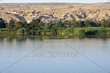 A Village On The Banks Of The Nile In Egypt Stock Photo