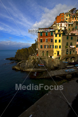 Village Of Riomaggiore In The North Of Italy,liguria Stock Photo