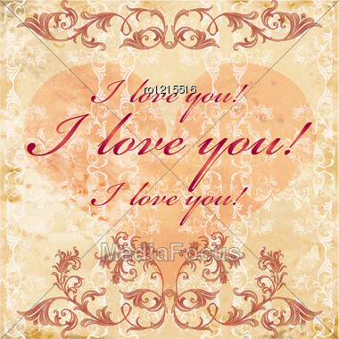 Vinage Valentines Day Greeting Card Stock Photo