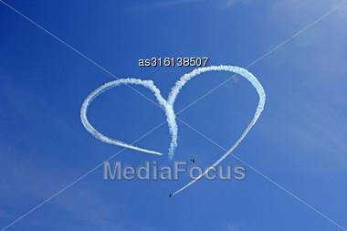 Vintage Aircraft Sky Writing Romantic Heart Shape Stock Photo