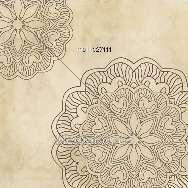 Vintage Background With Bright Colors Mandala And Place For Your Text Stock Photo