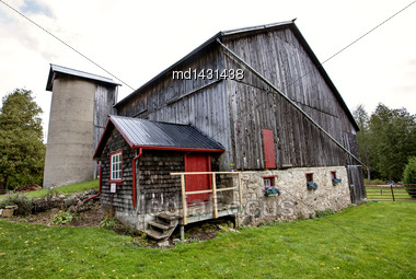 Vintage Barn With Stone Foundation In Ontario - Stock ...