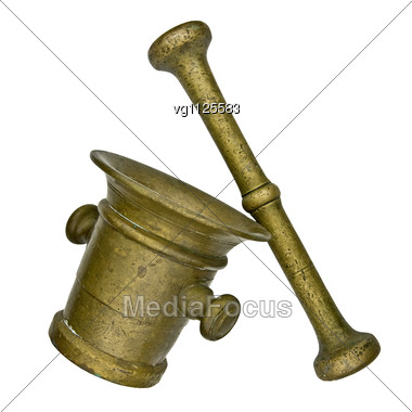 Vintage Brass Mortar And Pestle Stock Photo