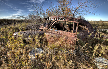 Vintage Car Abandoned Bullet Holes Target Practice Saskatchewan Stock Photo