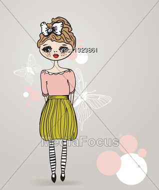Vintage Card With Cute Hand Drawn Girl On Pastel Background Stock Photo