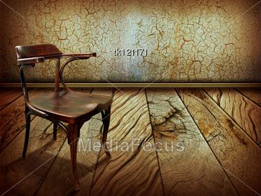 Vintage Chair Old Wooden Floor Antique Background Design Stock