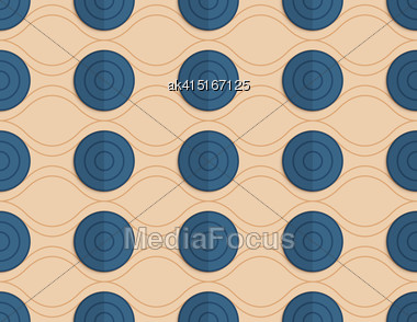 Vintage Colored Simple Seamless Pattern. Background With Paper Fold And 3d Realistic Shadow.Retro Fold Blue Circles On Waves Stock Photo