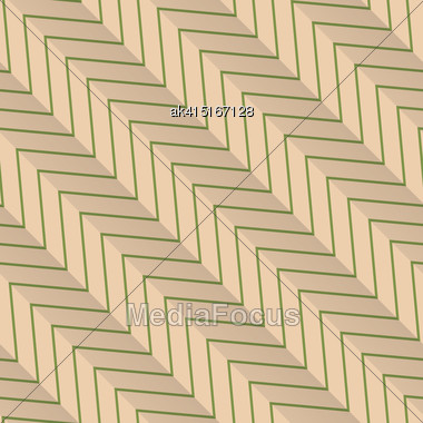 Vintage Colored Simple Seamless Pattern. Background With Paper Fold And 3d Realistic Shadow.Retro Fold Green Diagonal Striped Zigzag Stock Photo
