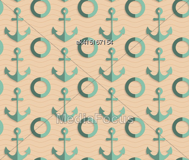 Vintage Colored Simple Seamless Pattern. Background With Paper Fold And 3d Realistic Shadow.Retro Fold Sea Green Anchors Stock Photo