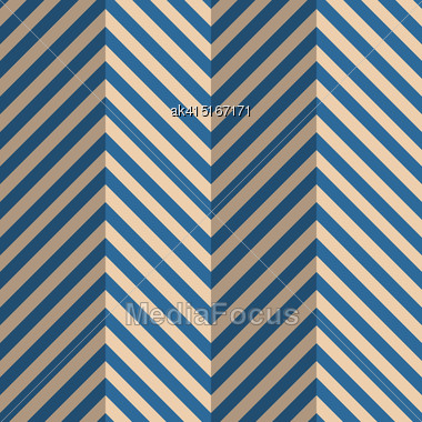 Vintage Colored Simple Seamless Pattern. Background With Paper Fold And 3d Realistic Shadow.Retro Fold Blue Striped Zigzag Stock Photo