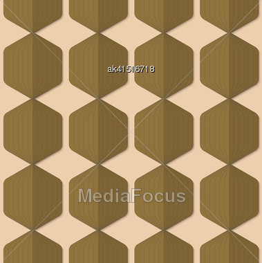 Vintage Colored Simple Seamless Pattern. Background With Paper Fold And 3d Realistic Shadow.Retro Fold Green Striped Hexagons Stock Photo