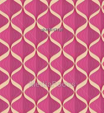Vintage Colored Simple Seamless Pattern. Background With Paper Fold And 3d Realistic Shadow.Retro Fold Magenta Chinese Lanterns Stock Photo