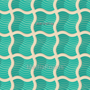 Vintage Colored Simple Seamless Pattern. Background With Paper Fold And 3d Realistic Shadow.Retro Fold Light Green Striped Wavy Squares Stock Photo