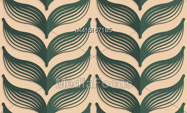 Vintage Colored Simple Seamless Pattern. Background With Paper Fold And 3d Realistic Shadow.Retro Fold Deep Green Striped Leaves Stock Photo