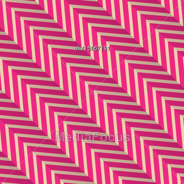 Vintage Colored Simple Seamless Pattern. Background With Paper Fold And 3d Realistic Shadow.Retro Fold Magenta Diagonal Striped Zigzag Stock Photo