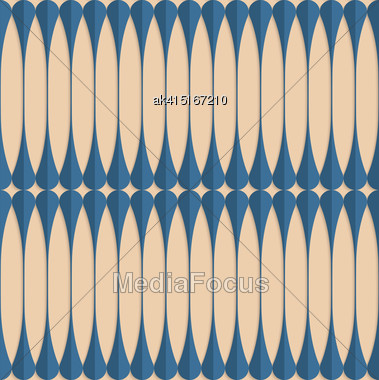 Vintage Colored Simple Seamless Pattern. Background With Paper Fold And 3d Realistic Shadow.Retro Fold Blue Clubs Stock Photo