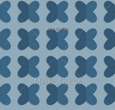 Vintage Colored Simple Seamless Pattern. Background With Paper Fold And 3d Realistic Shadow.Retro Fold Blue Four Pedal Flowers On Waves Stock Photo