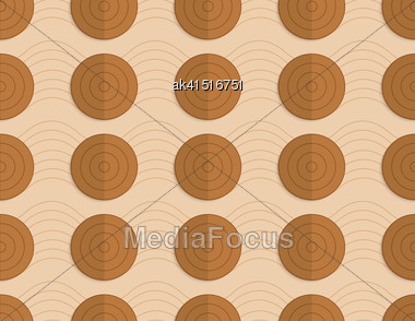 Vintage Colored Simple Seamless Pattern. Background With Paper Fold And 3d Realistic Shadow.Retro Fold Brown Circles On Bulging Waves Stock Photo