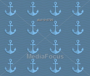 Vintage Colored Simple Seamless Pattern. Background With Paper Fold And 3d Realistic Shadow.Retro Fold Blue Anchors On Waves Stock Photo