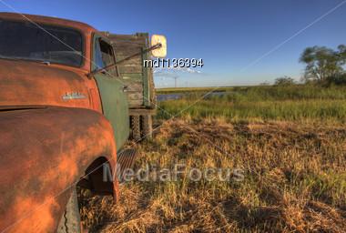 Vintage Farm Trucks Saskatchewan Canada Weathered And Old Stock Photo